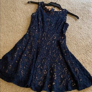 Navy lace dress with skin tone underlay